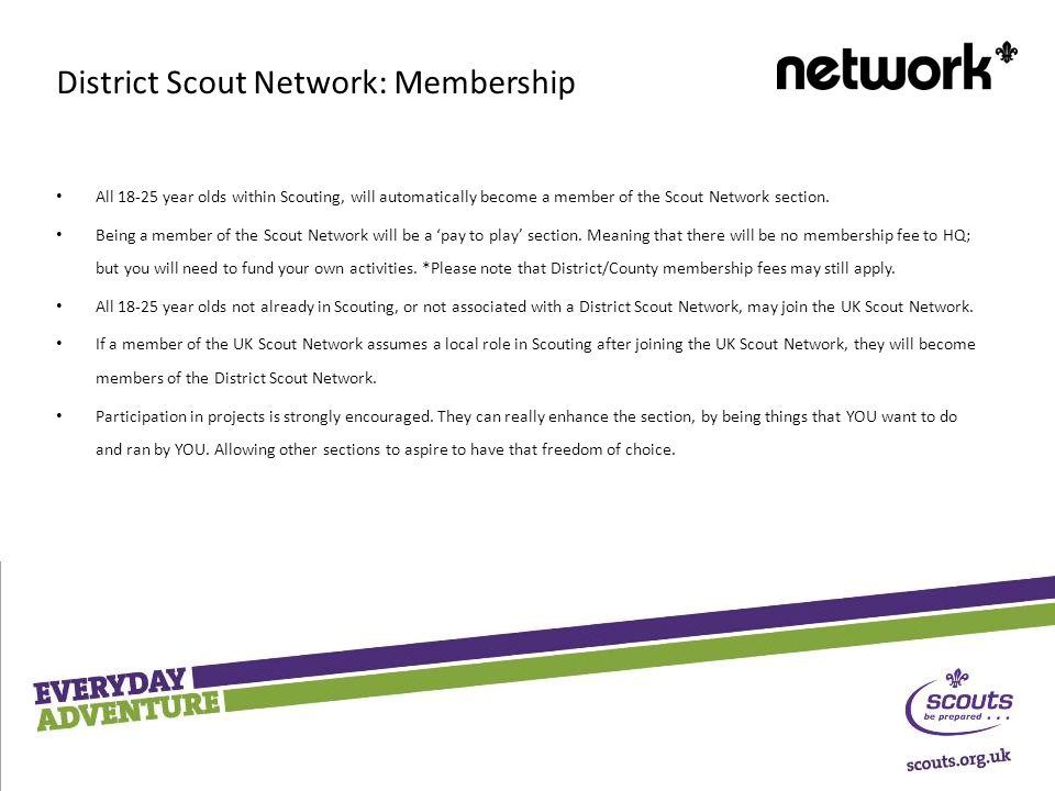 All year olds within Scouting, will automatically become a member of the Scout Network section.