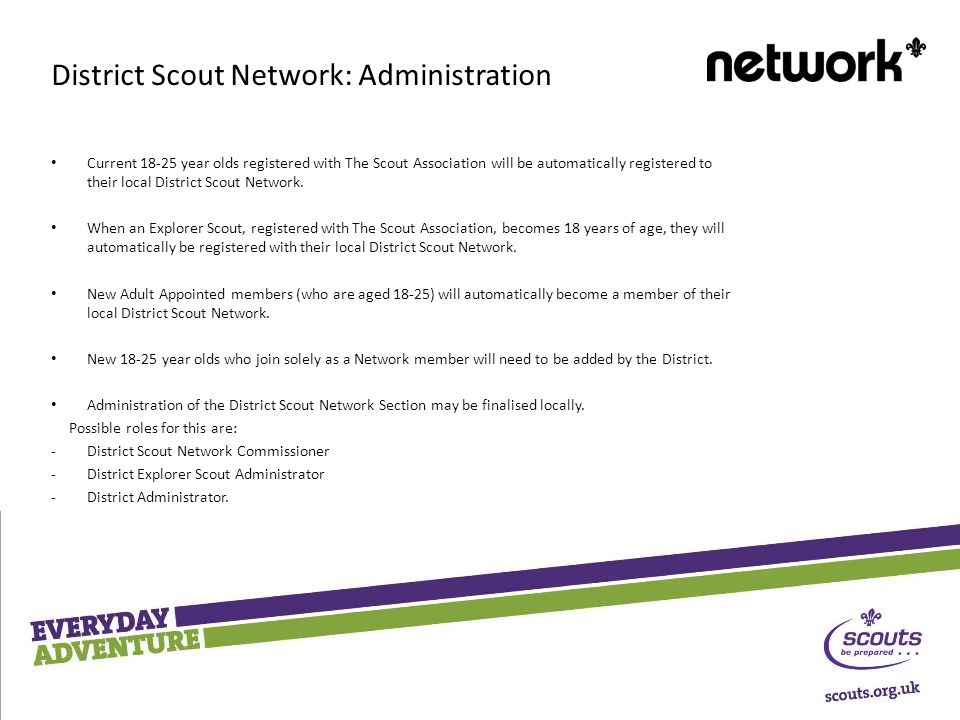 Current year olds registered with The Scout Association will be automatically registered to their local District Scout Network.