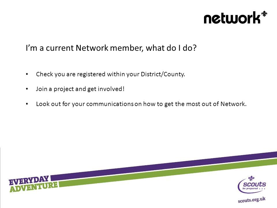 I'm a current Network member, what do I do. Check you are registered within your District/County.
