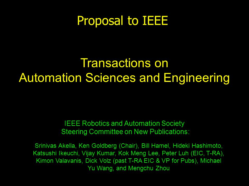 Proposal To Ieee Ieee Robotics And Automation Society Steering