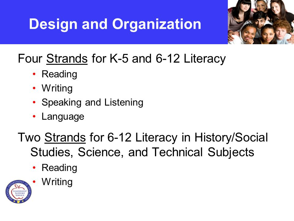 Design and Organization Four Strands for K-5 and 6-12 Literacy Reading Writing Speaking and Listening Language Two Strands for 6-12 Literacy in History/Social Studies, Science, and Technical Subjects Reading Writing
