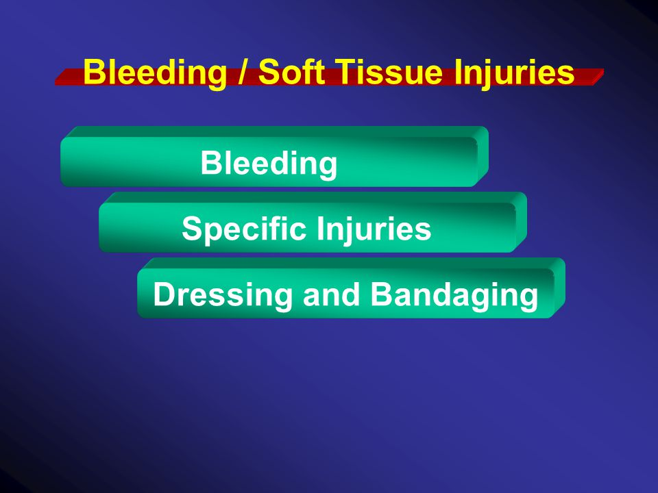 Bleeding / Soft Tissue Injuries Bleeding Specific Injuries Dressing and Bandaging