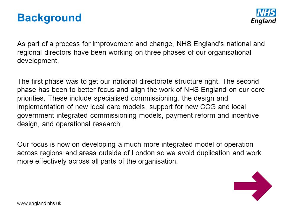 Background As part of a process for improvement and change, NHS England's national and regional directors have been working on three phases of our organisational development.