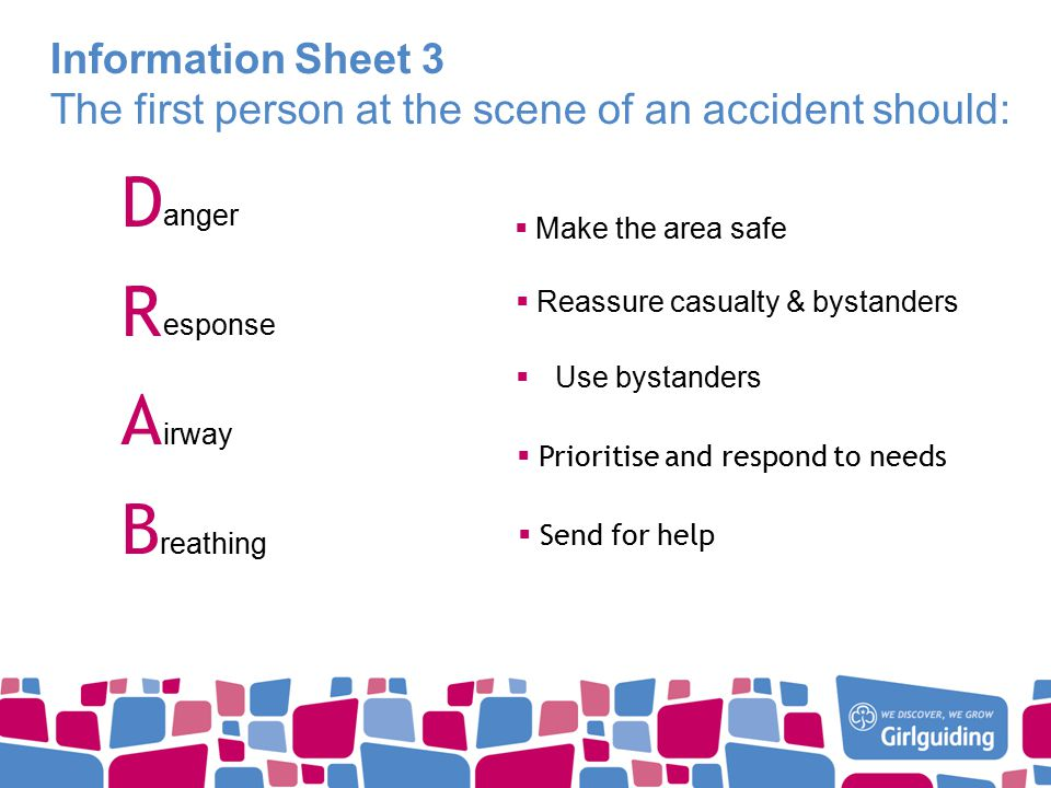 Information Sheet 3 The first person at the scene of an accident should: DRABDRAB anger esponse irway reathing  Make the area safe  Reassure casualty & bystanders  Use bystanders  Prioritise and respond to needs  Send for help