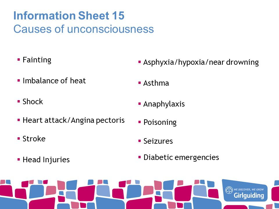 Information Sheet 15 Causes of unconsciousness  Fainting  Imbalance of heat  Shock  Heart attack/Angina pectoris  Stroke  Head Injuries  Asphyxia/hypoxia/near drowning  Asthma  Anaphylaxis  Poisoning  Seizures  Diabetic emergencies