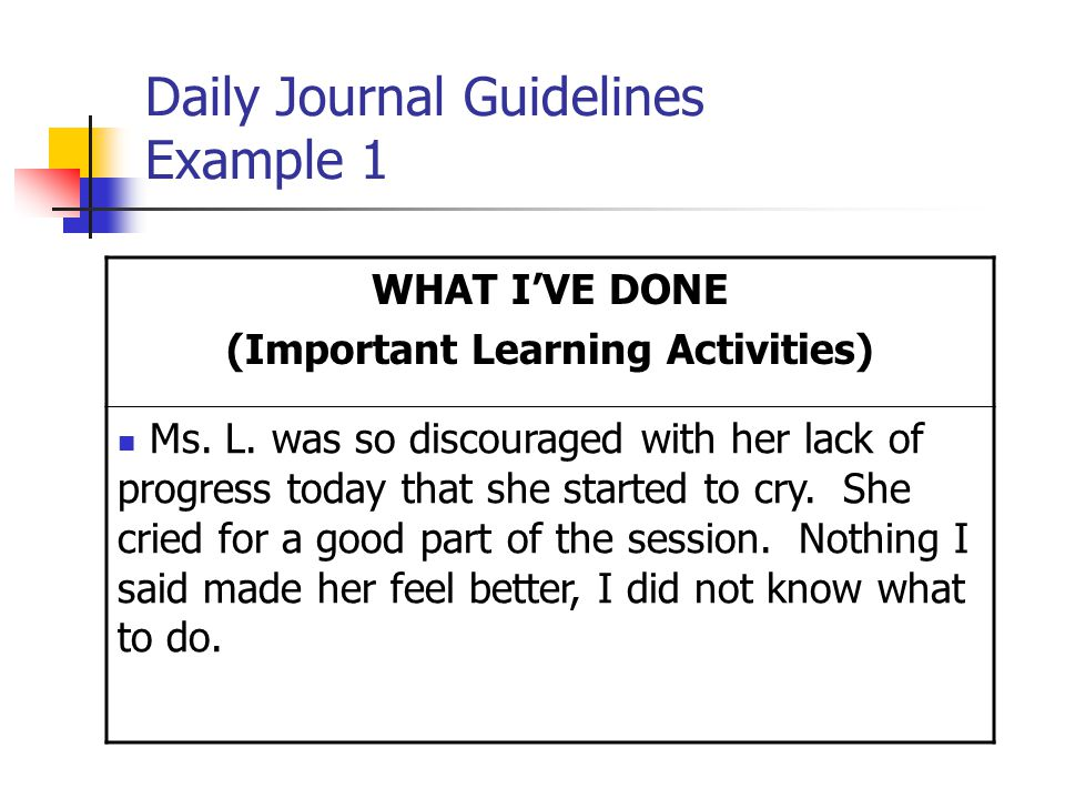 Daily Journal Guidelines Example 1 WHAT I'VE DONE (Important Learning Activities) Ms.