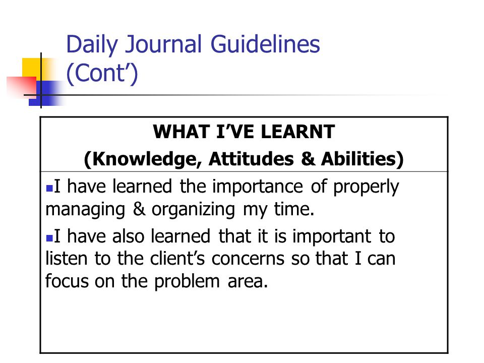Daily Journal Guidelines (Cont') WHAT I'VE LEARNT (Knowledge, Attitudes & Abilities) I have learned the importance of properly managing & organizing my time.