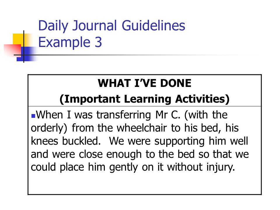 Daily Journal Guidelines Example 3 WHAT I'VE DONE (Important Learning Activities) When I was transferring Mr C.