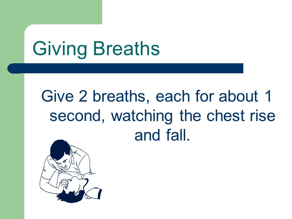 Give 2 breaths, each for about 1 second, watching the chest rise and fall. Giving Breaths