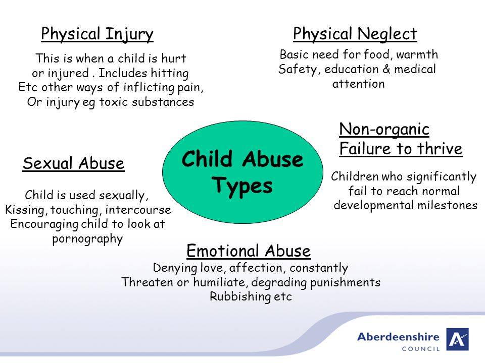 Child Abuse Types Physical InjuryPhysical Neglect Sexual Abuse Emotional Abuse Non-organic Failure to thrive Basic need for food, warmth Safety, education & medical attention This is when a child is hurt or injured.