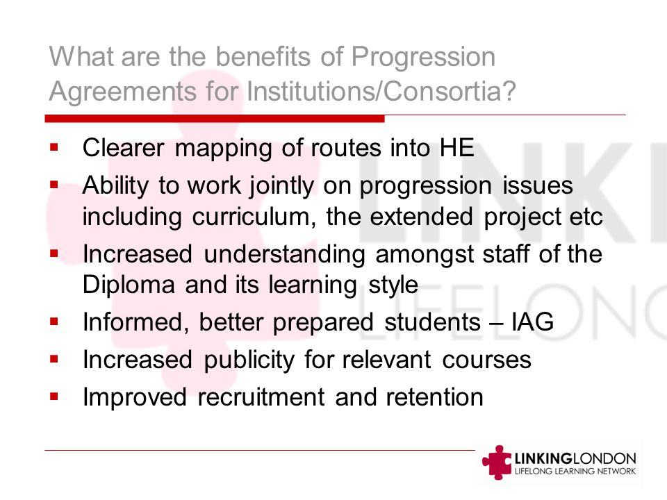 What are the benefits of Progression Agreements for Institutions/Consortia.