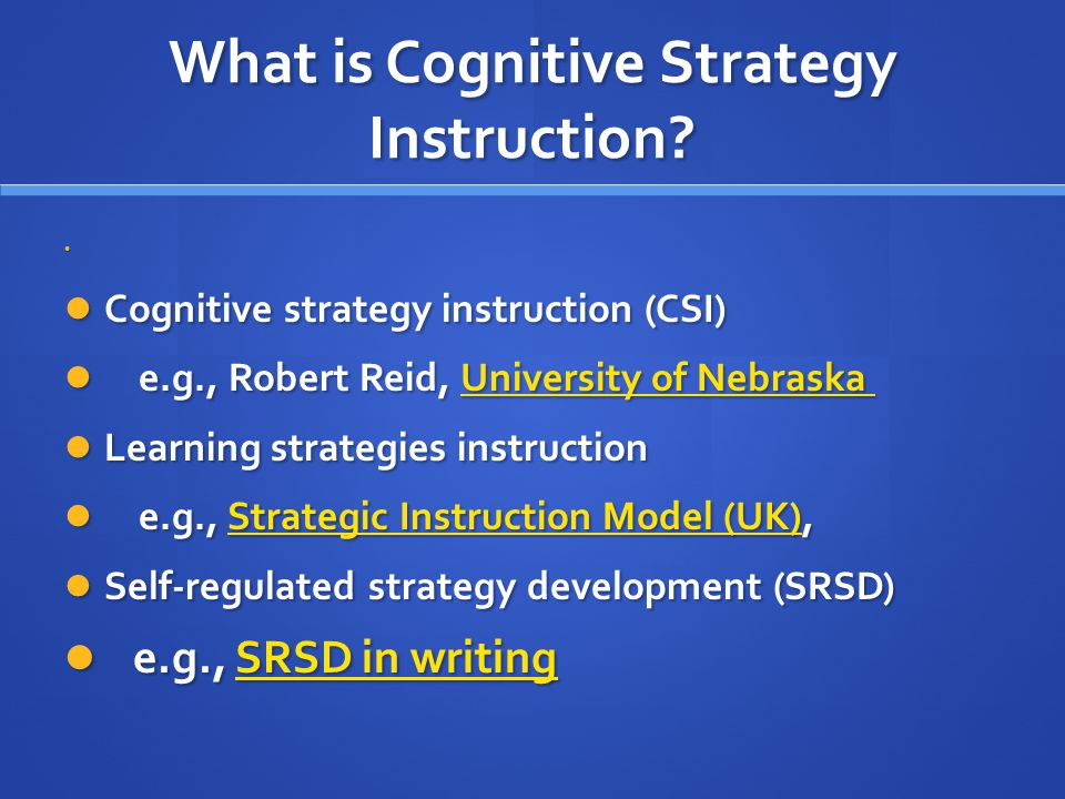 cognitive strategy instruction in writing
