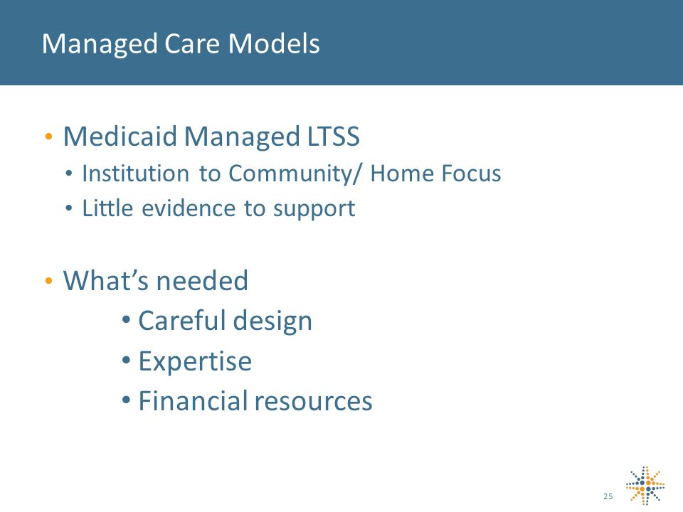 Medicaid Managed LTSS Institution to Community/ Home Focus Little evidence to support What's needed Careful design Expertise Financial resources Managed Care Models 25