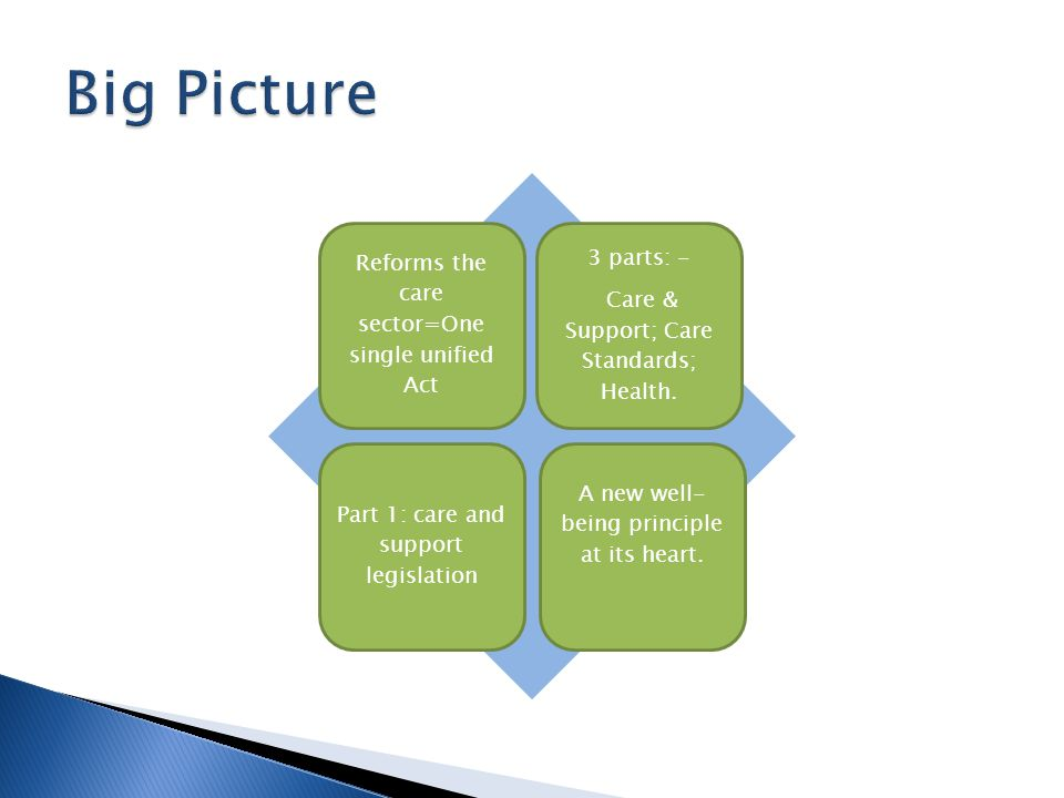 Reforms the care sector=One single unified Act 3 parts: - Care & Support; Care Standards; Health.