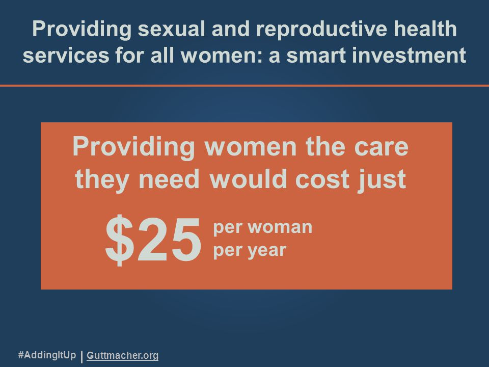 Guttmacher.org #AddingItUp Providing sexual and reproductive health services for all women: a smart investment Providing women the care they need would cost just $25 per woman per year