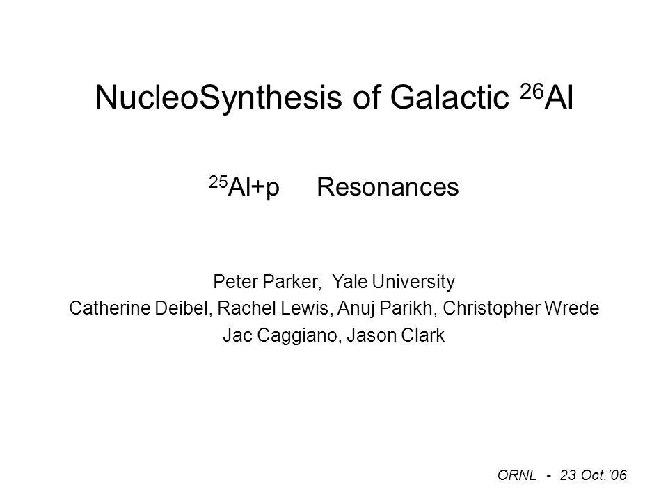 NucleoSynthesis of Galactic 26 Al 25 Al+p Resonances Peter
