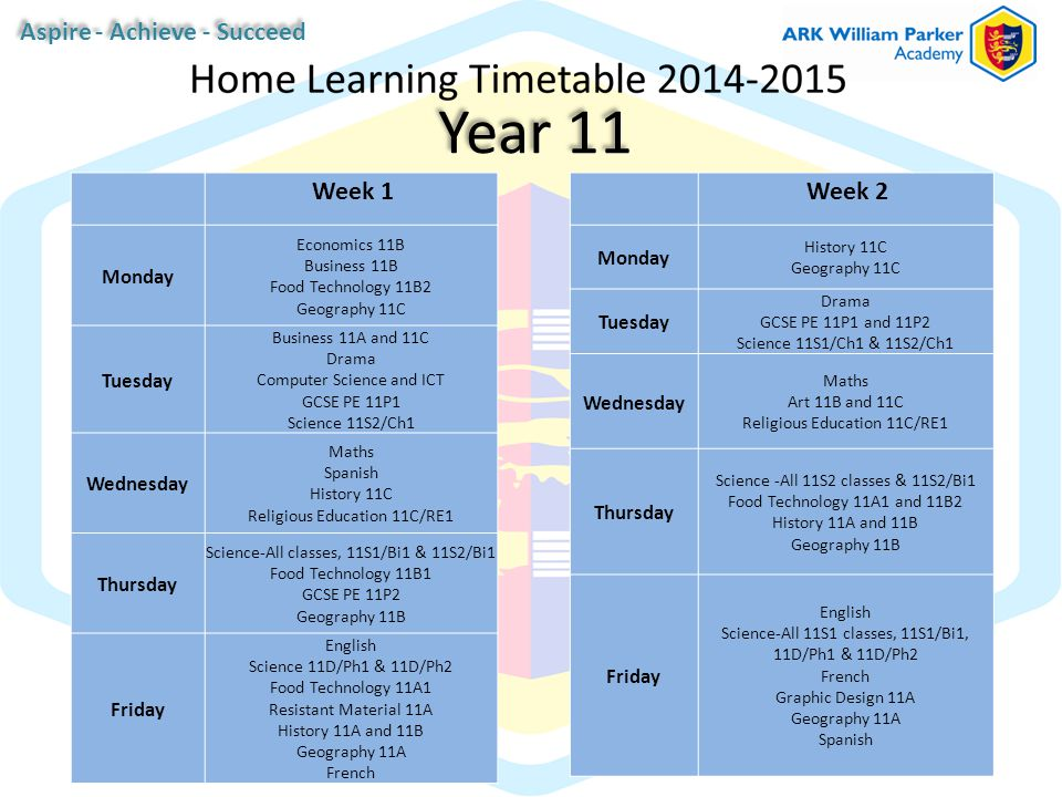 Year 11 Week 1 Monday Economics 11B Business 11B Food Technology 11B2 Geography 11C Tuesday Business 11A and 11C Drama Computer Science and ICT GCSE PE 11P1 Science 11S2/Ch1 Wednesday Maths Spanish History 11C Religious Education 11C/RE1 Thursday Science-All classes, 11S1/Bi1 & 11S2/Bi1 Food Technology 11B1 GCSE PE 11P2 Geography 11B Friday English Science 11D/Ph1 & 11D/Ph2 Food Technology 11A1 Resistant Material 11A History 11A and 11B Geography 11A French Week 2 Monday History 11C Geography 11C Tuesday Drama GCSE PE 11P1 and 11P2 Science 11S1/Ch1 & 11S2/Ch1 Wednesday Maths Art 11B and 11C Religious Education 11C/RE1 Thursday Science -All 11S2 classes & 11S2/Bi1 Food Technology 11A1 and 11B2 History 11A and 11B Geography 11B Friday English Science-All 11S1 classes, 11S1/Bi1, 11D/Ph1 & 11D/Ph2 French Graphic Design 11A Geography 11A Spanish Aspire - Achieve - Succeed