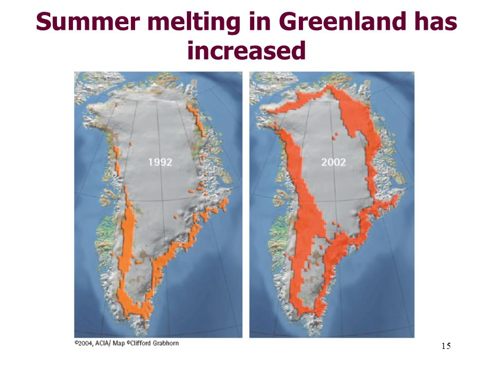 15 Summer melting in Greenland has increased