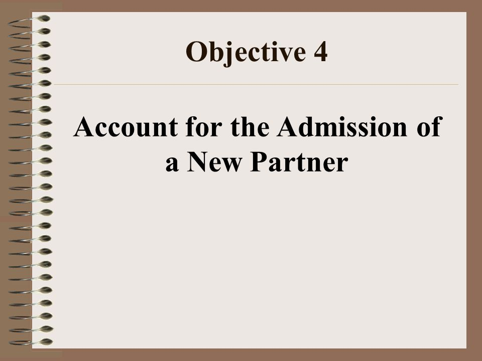 Objective 4 Account for the Admission of a New Partner
