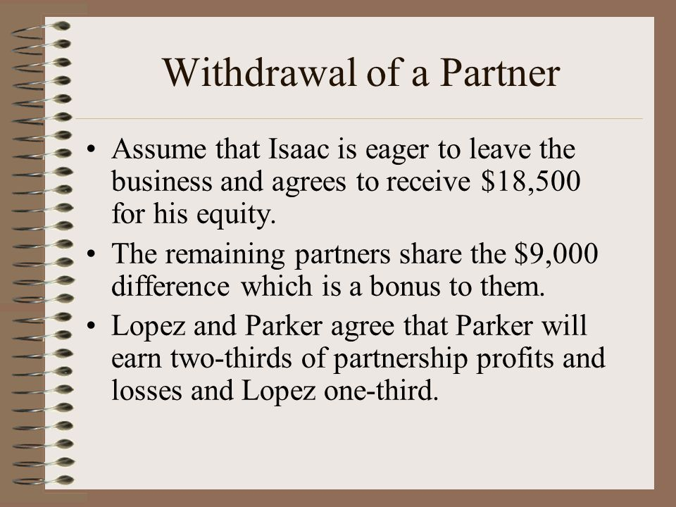 Withdrawal of a Partner Assume that Isaac is eager to leave the business and agrees to receive $18,500 for his equity.