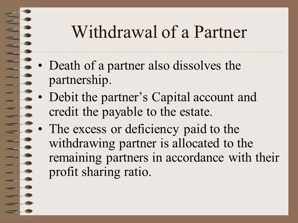 Withdrawal of a Partner Death of a partner also dissolves the partnership.