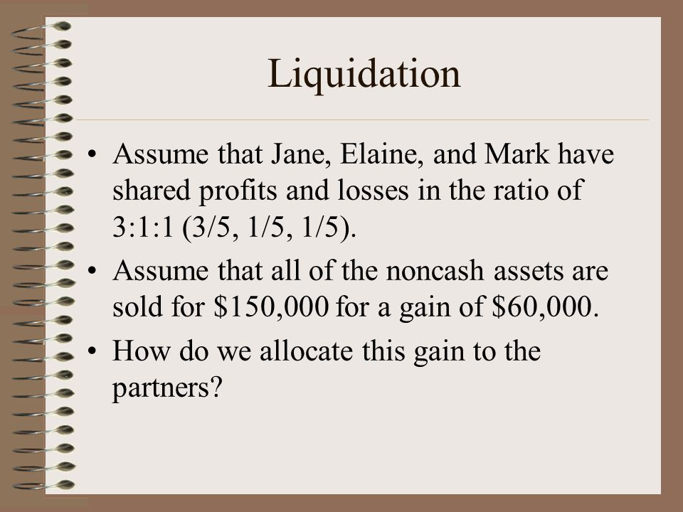 Liquidation Assume that Jane, Elaine, and Mark have shared profits and losses in the ratio of 3:1:1 (3/5, 1/5, 1/5).