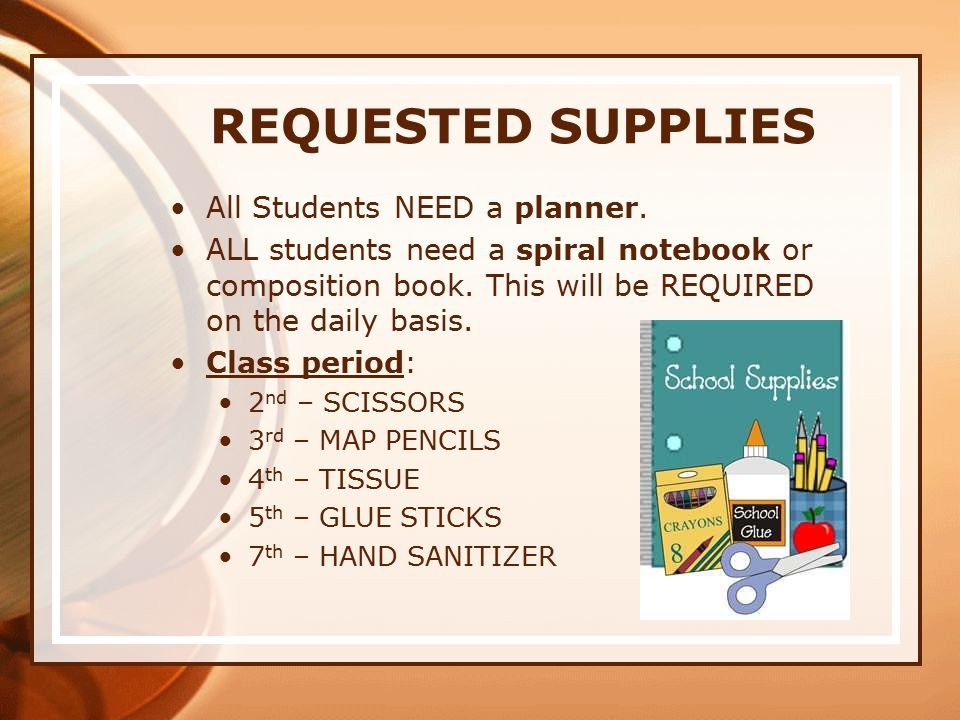 REQUESTED SUPPLIES All Students NEED a planner.