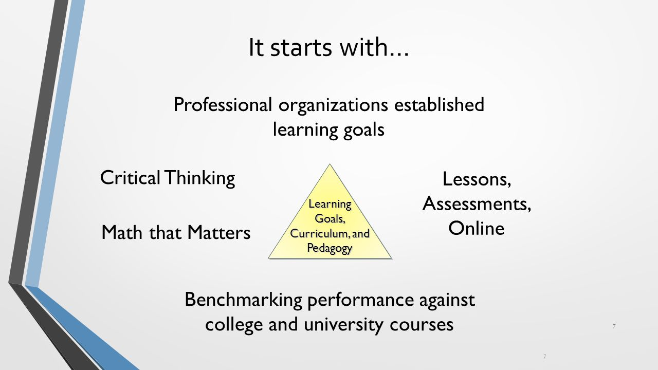 It starts with… 7 7 Professional organizations established learning goals Benchmarking performance against college and university courses Critical Thinking Lessons, Assessments, Online Math that Matters LearningGoals, Curriculum, and Pedagogy