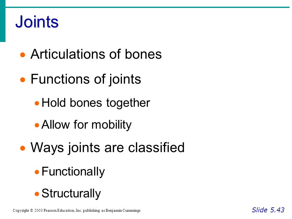 Joints Slide 5.43 Copyright © 2003 Pearson Education, Inc.