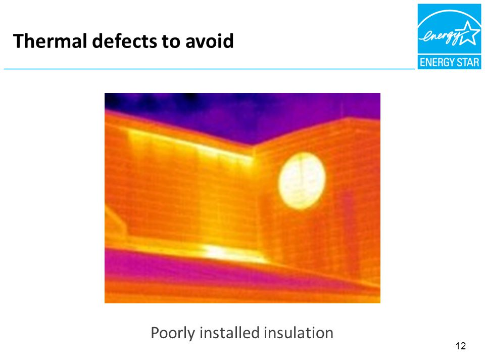 Thermal defects to avoid Poorly installed insulation 12