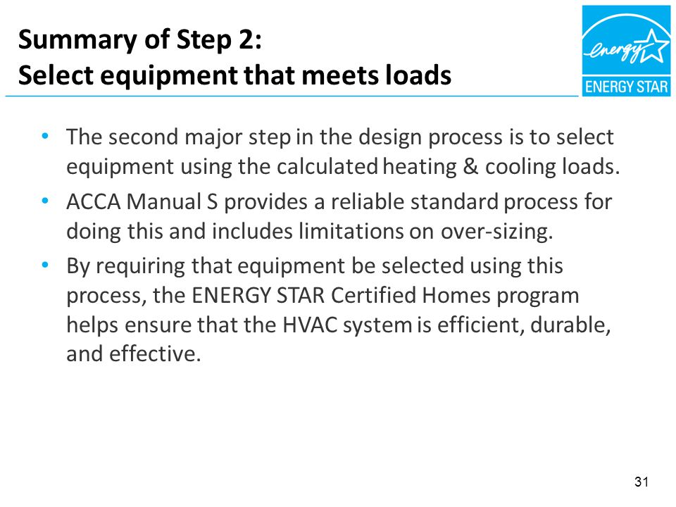 Summary of Step 2: Select equipment that meets loads The second major step in the design process is to select equipment using the calculated heating & cooling loads.
