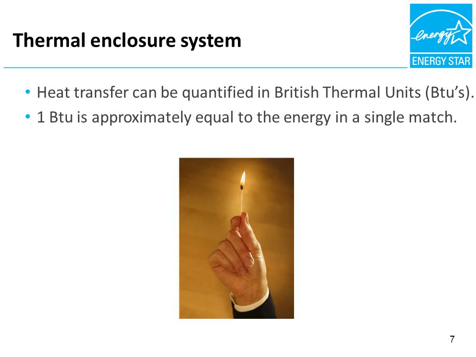 FIBROUS NSULATION = AIR BARRIER Thermal enclosure system Heat transfer can be quantified in British Thermal Units (Btu's).