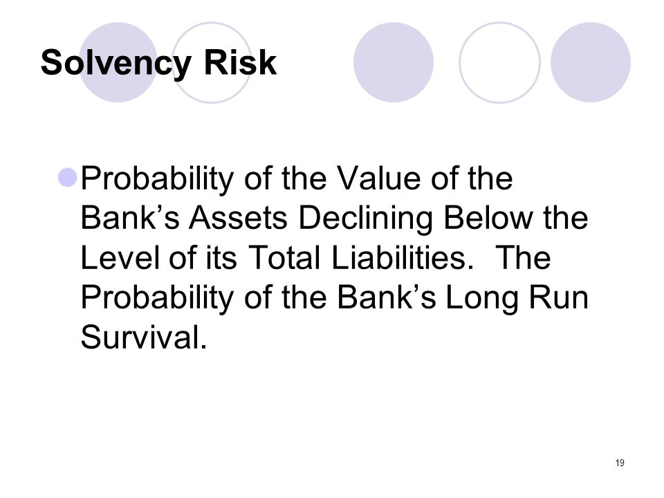 19 Solvency Risk Probability of the Value of the Bank's Assets Declining Below the Level of its Total Liabilities.