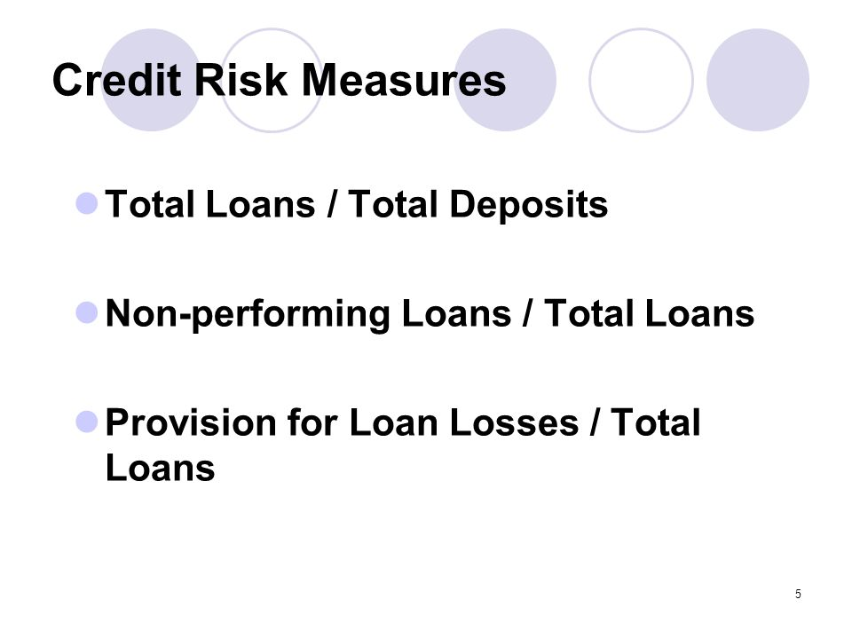 5 Credit Risk Measures Total Loans / Total Deposits Non-performing Loans / Total Loans Provision for Loan Losses / Total Loans