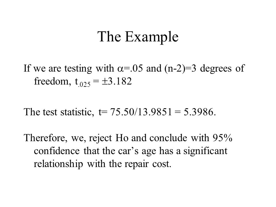 The Example If we are testing with  =.05 and (n-2)=3 degrees of freedom, t.025 =  The test statistic, t= 75.50/ =