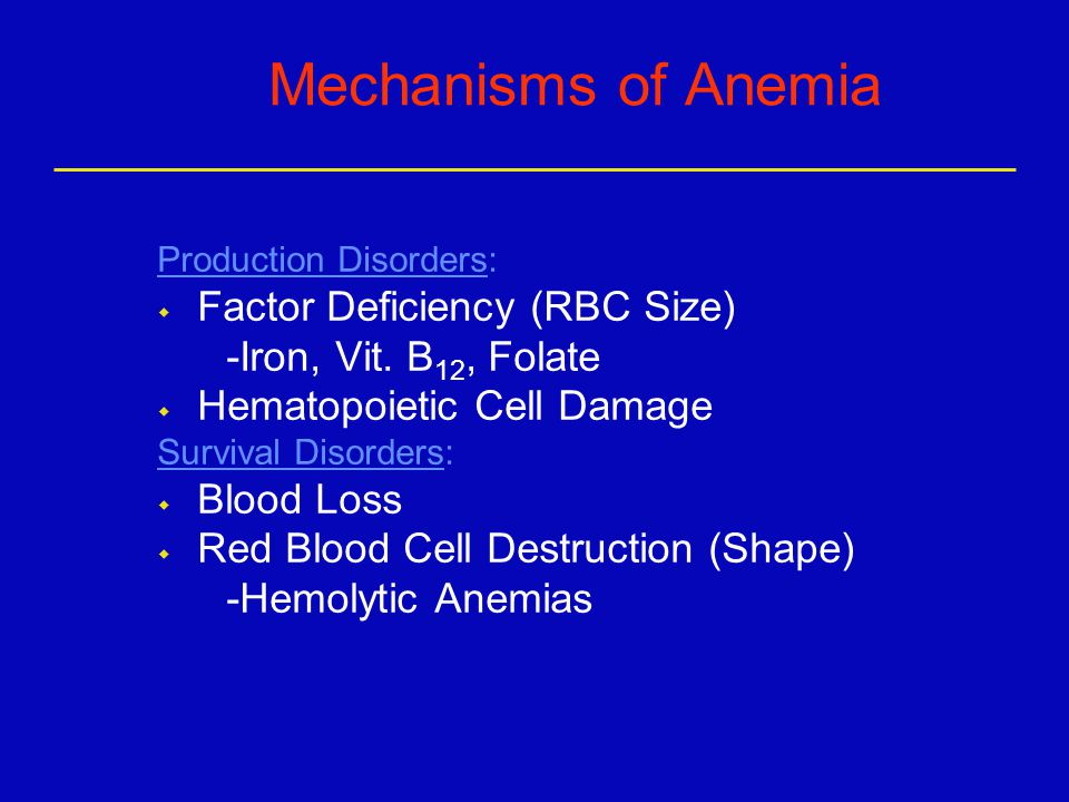 Mechanisms of Anemia Production Disorders: w Factor Deficiency (RBC Size) -Iron, Vit.