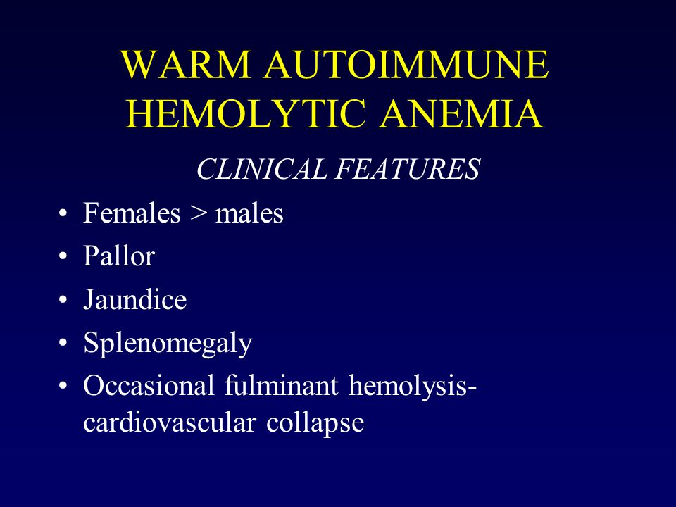 WARM AUTOIMMUNE HEMOLYTIC ANEMIA CLINICAL FEATURES Females > males Pallor Jaundice Splenomegaly Occasional fulminant hemolysis- cardiovascular collapse