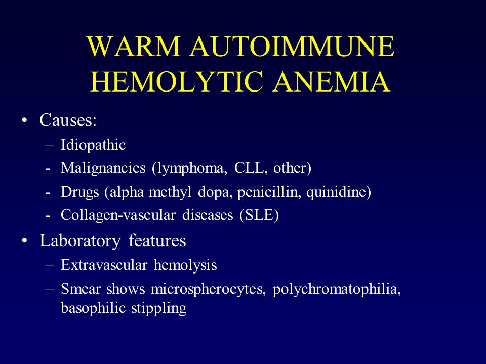 WARM AUTOIMMUNE HEMOLYTIC ANEMIA Causes: –Idiopathic -Malignancies (lymphoma, CLL, other) -Drugs (alpha methyl dopa, penicillin, quinidine) -Collagen-vascular diseases (SLE) Laboratory features –Extravascular hemolysis –Smear shows microspherocytes, polychromatophilia, basophilic stippling