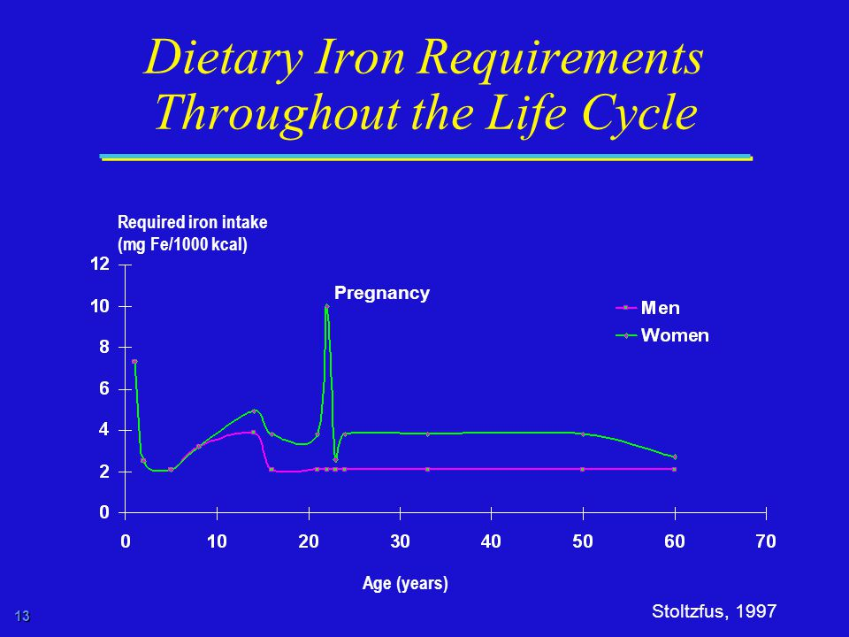 13 Dietary Iron Requirements Throughout the Life Cycle Required iron intake (mg Fe/1000 kcal) Stoltzfus, 1997 Age (years) Pregnancy