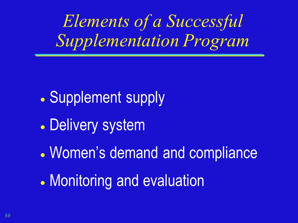 59 Elements of a Successful Supplementation Program  Supplement supply  Delivery system  Women's demand and compliance  Monitoring and evaluation