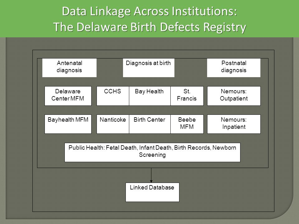 Data Linkage Across Institutions: The Delaware Birth Defects Registry Bayhealth MFM Delaware Center MFM CCHS Nanticoke Bay Health Birth Center St.