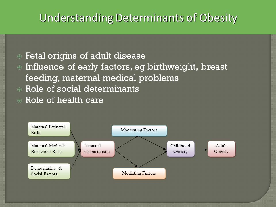  Fetal origins of adult disease  Influence of early factors, eg birthweight, breast feeding, maternal medical problems  Role of social determinants  Role of health care Mediating Factors Moderating Factors Childhood Obesity Adult Obesity Maternal Perinatal Risks Neonatal Characteristic Maternal Medical/ Behavioral Risks Demographic & Social Factors Understanding Determinants of Obesity