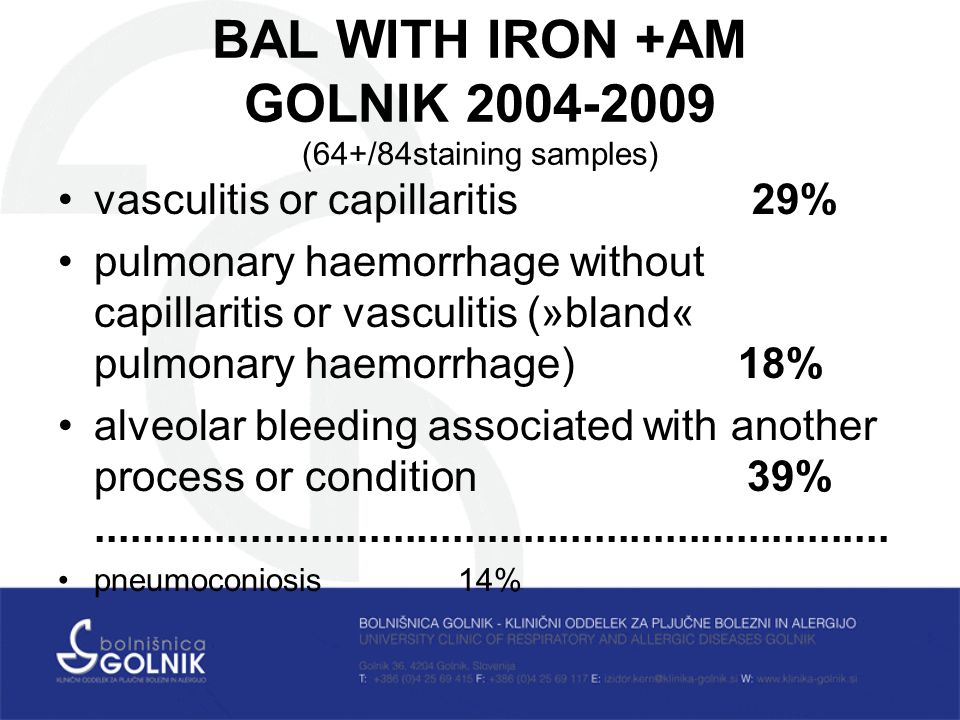 BAL WITH IRON +AM GOLNIK (64+/84staining samples) vasculitis or capillaritis 29% pulmonary haemorrhage without capillaritis or vasculitis (»bland« pulmonary haemorrhage) 18% alveolar bleeding associated with another process or condition 39%