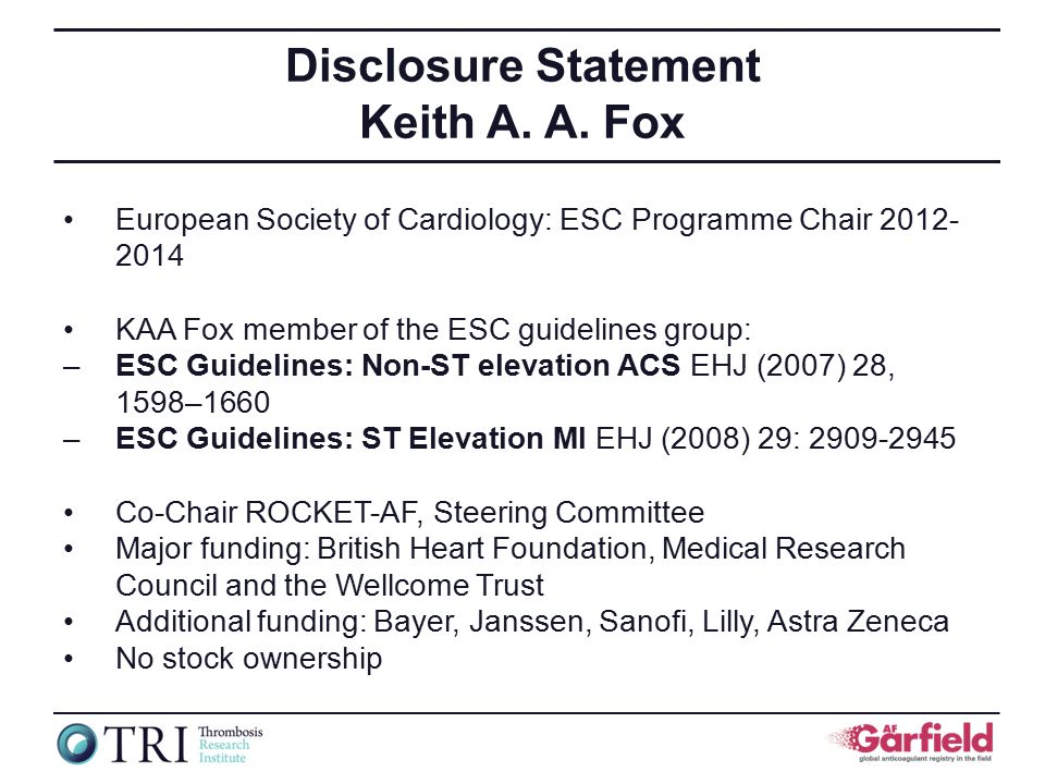 Disclosure Statement Keith A. A.