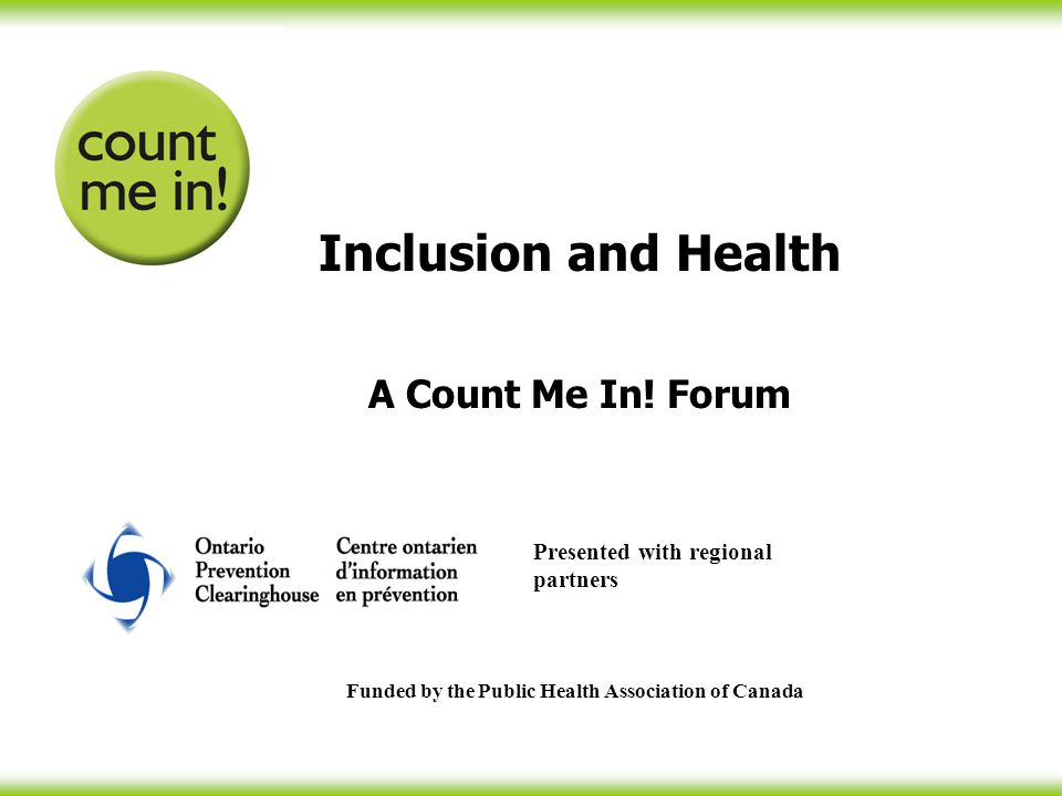 Inclusion and Health A Count Me In.