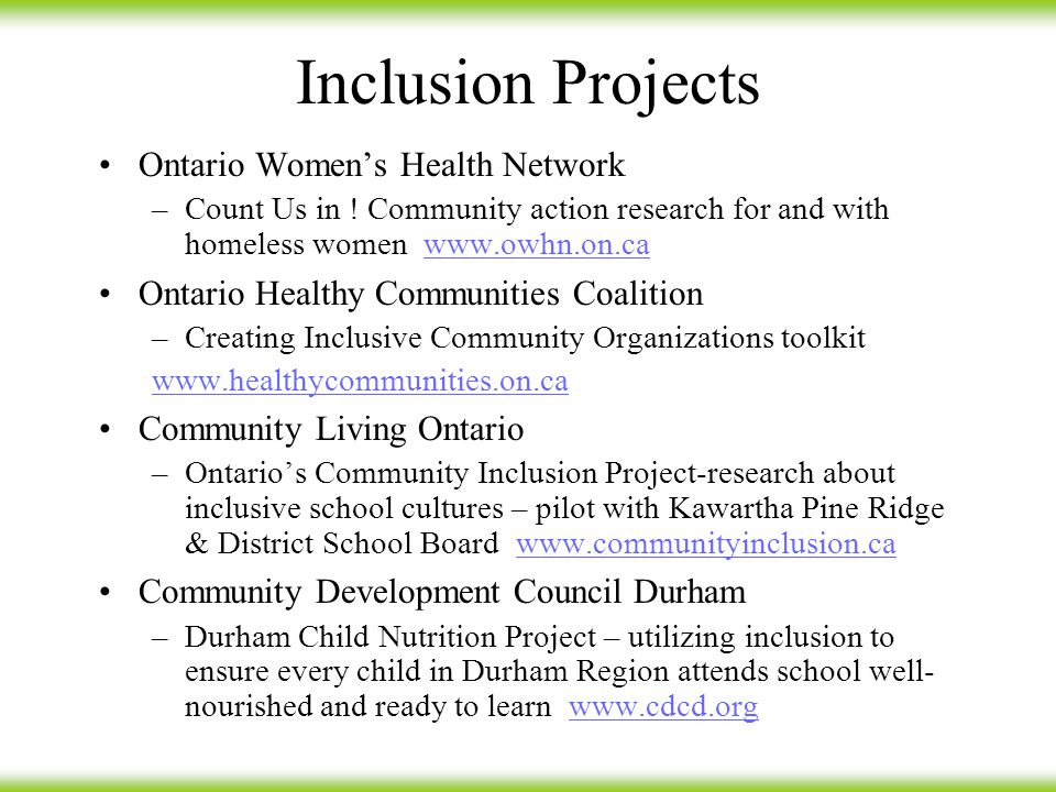 Inclusion Projects Ontario Women's Health Network –Count Us in .