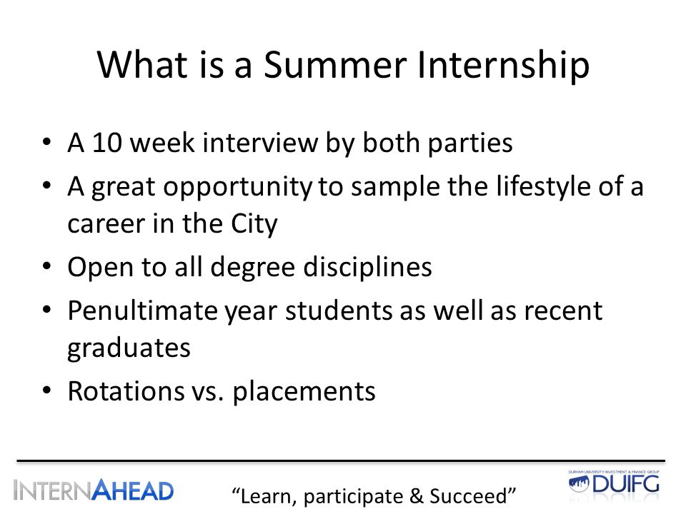 "Learn, participate & Succeed"" ""Spring Week & Internship"