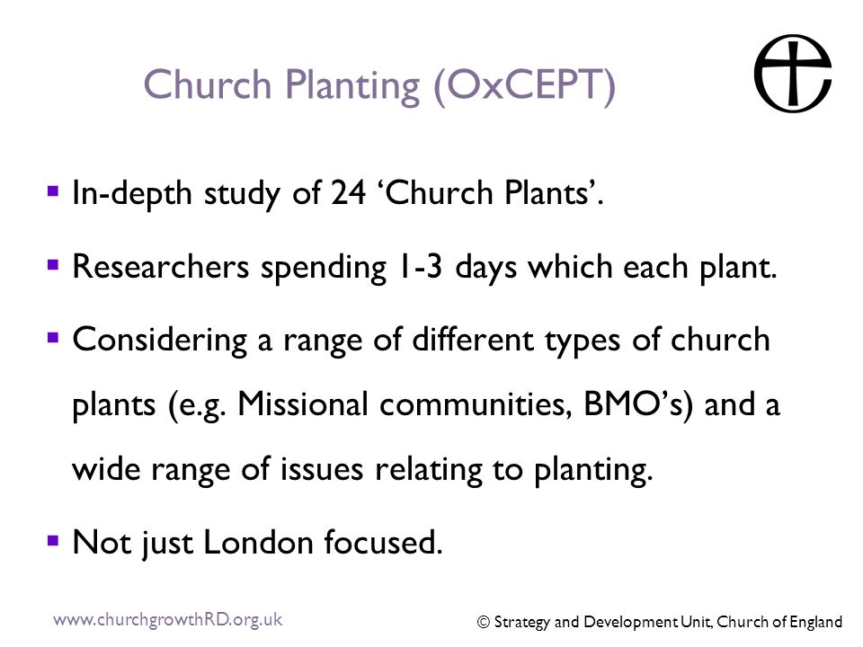 Church Planting (OxCEPT)  In-depth study of 24 'Church Plants'.