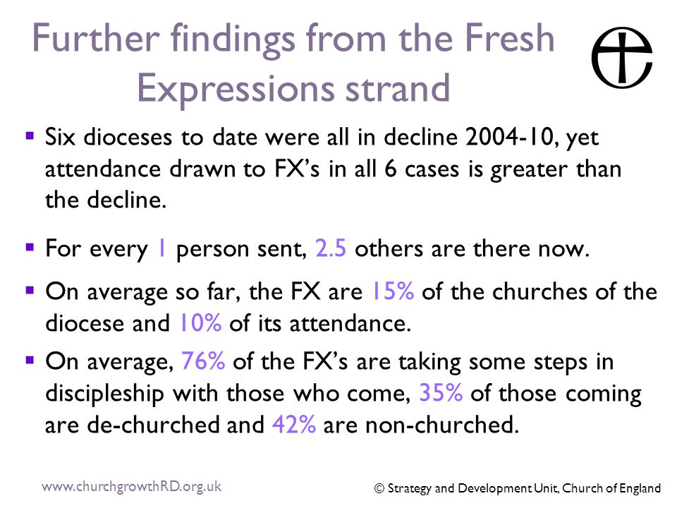 Further findings from the Fresh Expressions strand  Six dioceses to date were all in decline , yet attendance drawn to FX's in all 6 cases is greater than the decline.