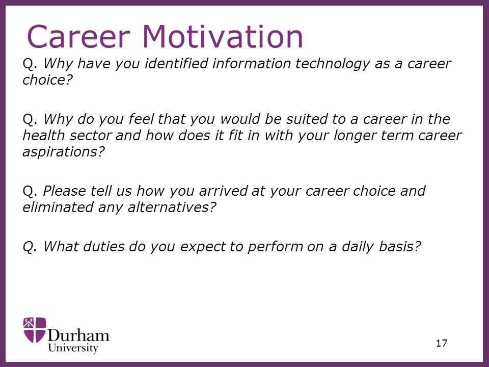 please tell us about your career aspirations